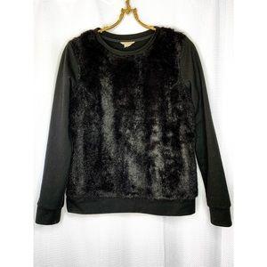 Black Club Monaco sweatshirt with faux fur